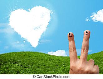 Feliz, smiley, Dedos, olhar, Coração, Dado...