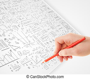 Human hand sketching ideas on a white paper - Human hand...