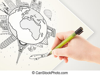 Hand drawing vacation trip around the globe with landmarks...