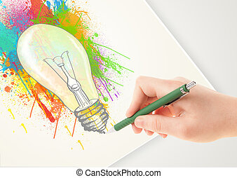 Hand drawing colorful idea light bulb with a pen