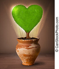 Eco heart tree coming out from flowerpot - Glowing eco love...