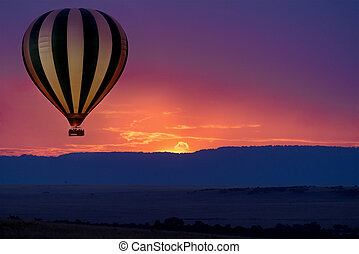 Balloon safari - Hot air balloon safari flight in the...