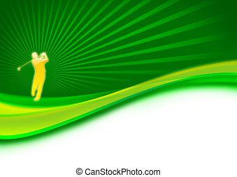 Golfer swing on the green with dynamic abstract background