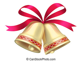 Christmas Bells - Golden shiny Christmas Bells isolated on...