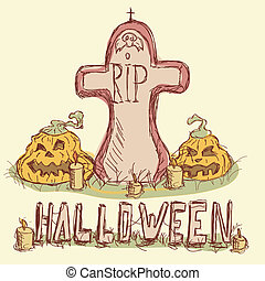 Vector illustration. Tombstone with pumpkins and candles.