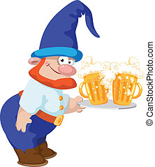dwarf and a tray with a beer - illustration of a dwarf and a...