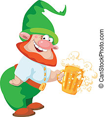 gnome and beer - illustration of a gnome and beer