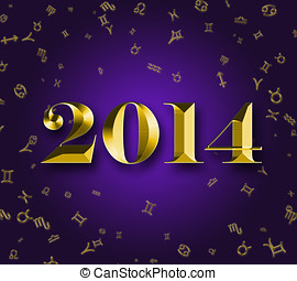 New Year 2014 with astrology signs - Golden New Year 2014...