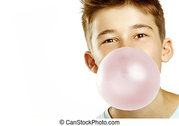 boy make bubble with chew