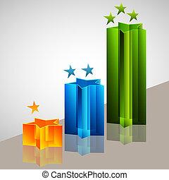 Star Bar Chart - An image of a 3d star bar chart.