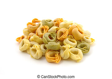 Dry tortellini tricolore in isolated white