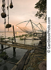 Cochin - Kochi - Kerala - India - Chinese Fishing Nets in...
