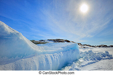 Iceberg in Greenland in sunshine