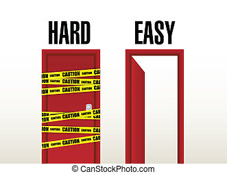 hard and easy doors illustration design over white