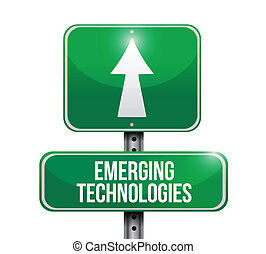 emerging technologies road sign illustration design over a...