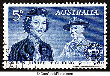 Postage stamp Australia 1960 Girl Guide and Lord...