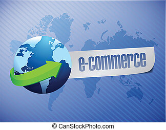 e commerce. world map illustration design over a blue...