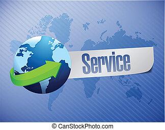 global service world map illustration design over a blue...