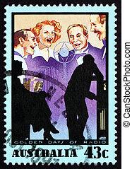 porto, visa, australien, stämpel,  1991, musik,  radio