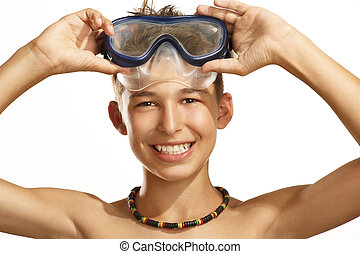 boy diving mask on white