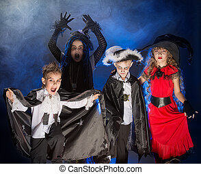 childrens party - Cheerful children in halloween costumes...