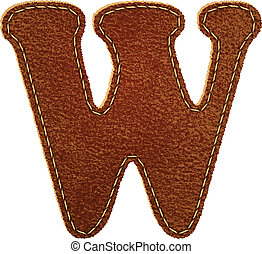 Leather alphabet. Leather textured letter W. Vector eps10...