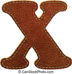 Leather alphabet. Leather textured letter X. Vector eps10...