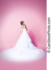 luxurious dress - Beautiful charming bride in a luxurious...