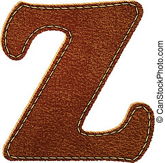 Leather alphabet. Leather textured letter Z. Vector eps10...