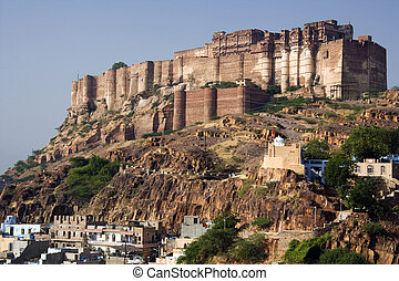 Jodhpur - India - Mehrangarh Fort in Jodhpur in Rajasthan in...