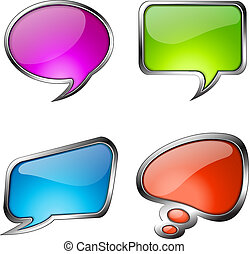 Set of colorful glass speech bubbles with metallic frames...