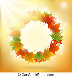 Abstract gold autumn background with maple leaf ring