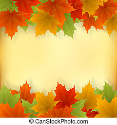 Abstract golden autumn frame from maple leaves Vector eps10...