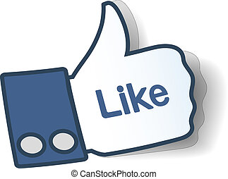 Like sign. Thumbs up symbol from paper used in social...