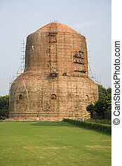 Sarnath - Buddhist Stupa - India - Dhamekh Stupa in Sarnath...