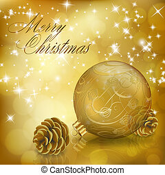 Golden Xmas greeting card with gold Christmas ball and...