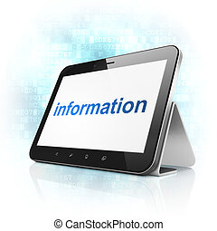 Data concept: Information on tablet pc computer