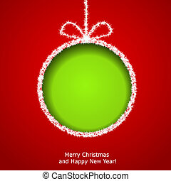 Abstract Christmas ball cutted from paper on red background....