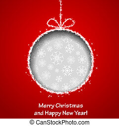 Abstract Xmas greeting card with Christmas ball cutted from red paper background. Vector eps10 illustration