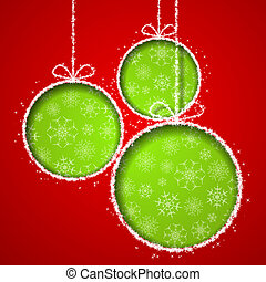 Abstract Xmas greeting card with green Christmas balsl...
