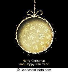 Abstract Xmas greeting card with golden Christmas ball cutted from black paper background. Vector eps10 illustration