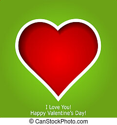 Abstract red heart cutted from green paper background. Valentines day greeting card. Vector eps10 illustration