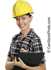 young woman architect with helmet