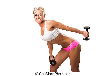 Fitness women smiling, happy. Fitness woman lifting -...