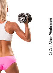 Back view portrait muscular blond woman holding dumbbell
