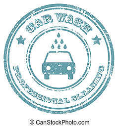 Car Wash-stamp - Grunge rubber stamp with text Car...