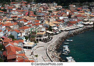 Parga town and port  in Greece. Ionian sea