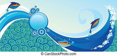 horizontal marine banner with fish
