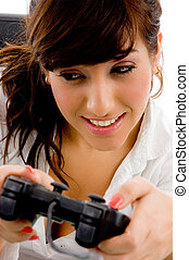 close view of woman playing videogame - close view of young...