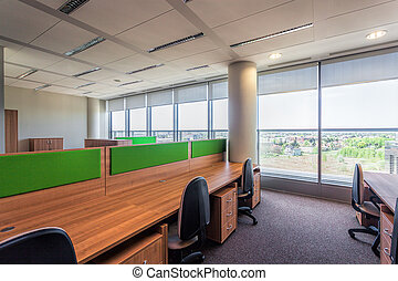 Office interior - Modern interior with wooden and green...